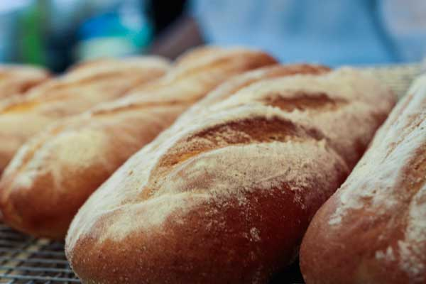 Freshly baked bread from the shop