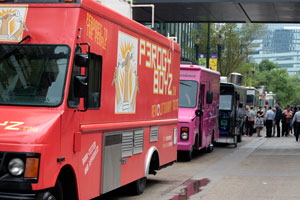Food trucks line Stephan Ave