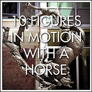 10 figures in motion with a horse, Calgary Public Art