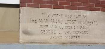 The cornerstone, placed by the same man who unveiled the South African War Memorial